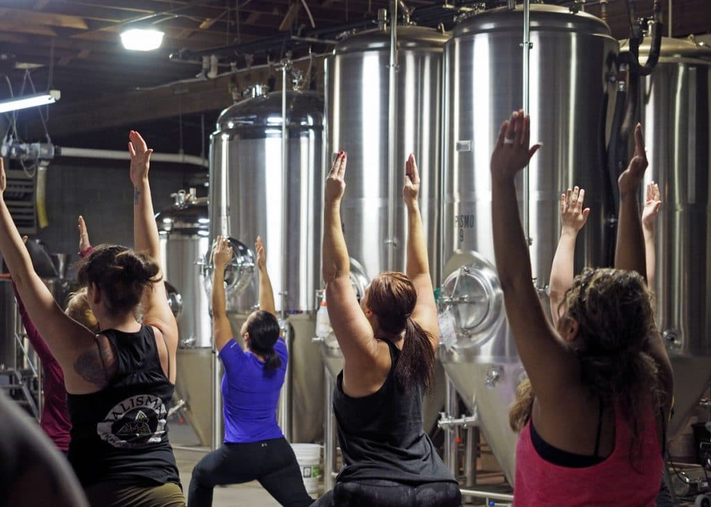 Yoga in the Brewery - Copyright Crafty Beer Girls